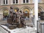 statue of kinder transport at Liverpool St. Station